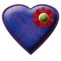 blue tartan stitched heart flower
