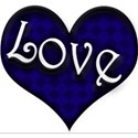 blue black love word art heart