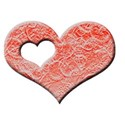 AC 3d I Heart You single frame lace red emboss
