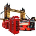 telephone box, bus, tower bridge