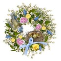 spring wreath 5 bird bow nest babies