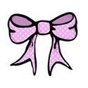 pink spotty hand drawn bow