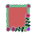 funky frame green and pink roses right