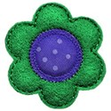 green blue felt flower