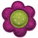purple green felt flower