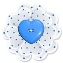 turquoise flower heart button