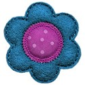 turquoise purple felt flower