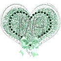 green heart love bow