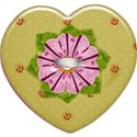 green heart flower button