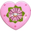 pink heart flower button