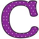 Big C - Purple polka dot