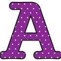 Big A - Purple polka dot