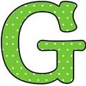 Big G - Green polka dot