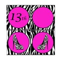 Printable Zebra Birthday Square Banner 6