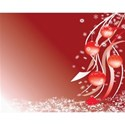 Christmas ornaments red background