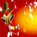 Christmas Bells on red background
