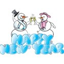 Happy new year snow couple