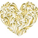 Gold curls heart