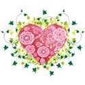 floral heart with ivy