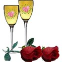 champaine glasses and roses