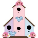 pink and purple bird house