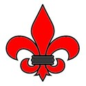 Fleur-de-lis red outlined