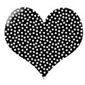 black and white polka dot heart
