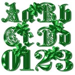 Fancy Green Alphabet