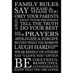 12x18 Family Rules Subway Art