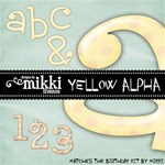 Yellow Polka Dot Alpha & Numbers by Mikki