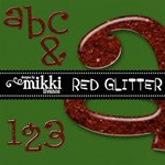 Red Glitter Alpha & Numbers by Mikki
