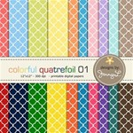 Colorful Quatrefoil with Matching Solid Papers