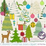 Colored Christmas tree clipart